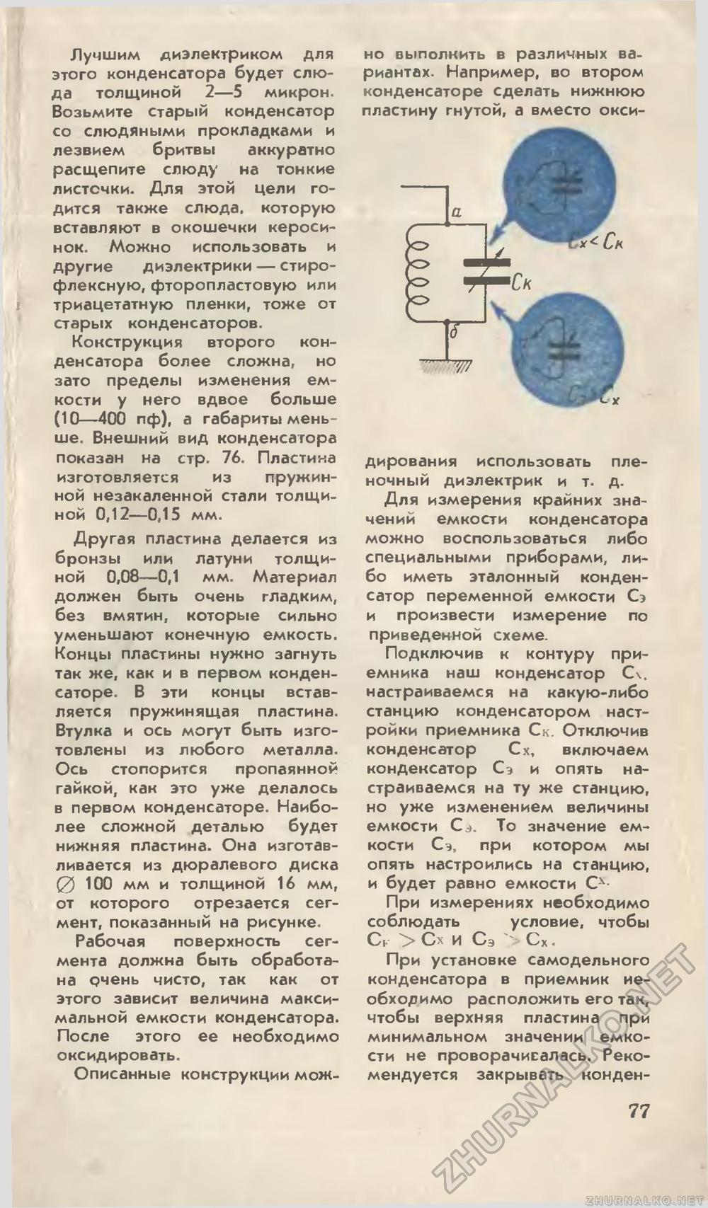 Проверка конденсатора. Прибор для 99