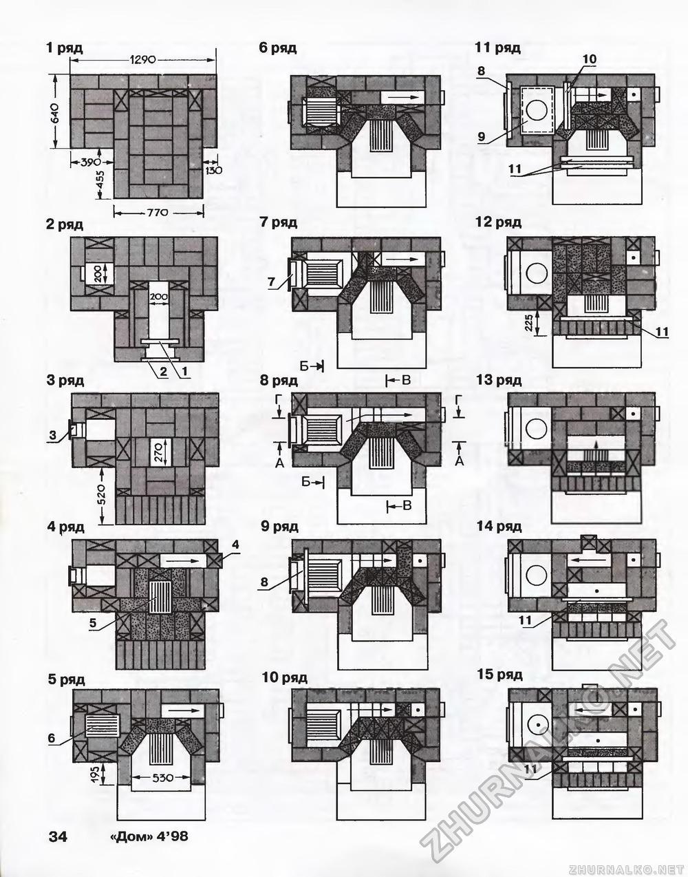 схема кладки печи голландки с плитой порядовка - Нужные схемы и описания для всех.