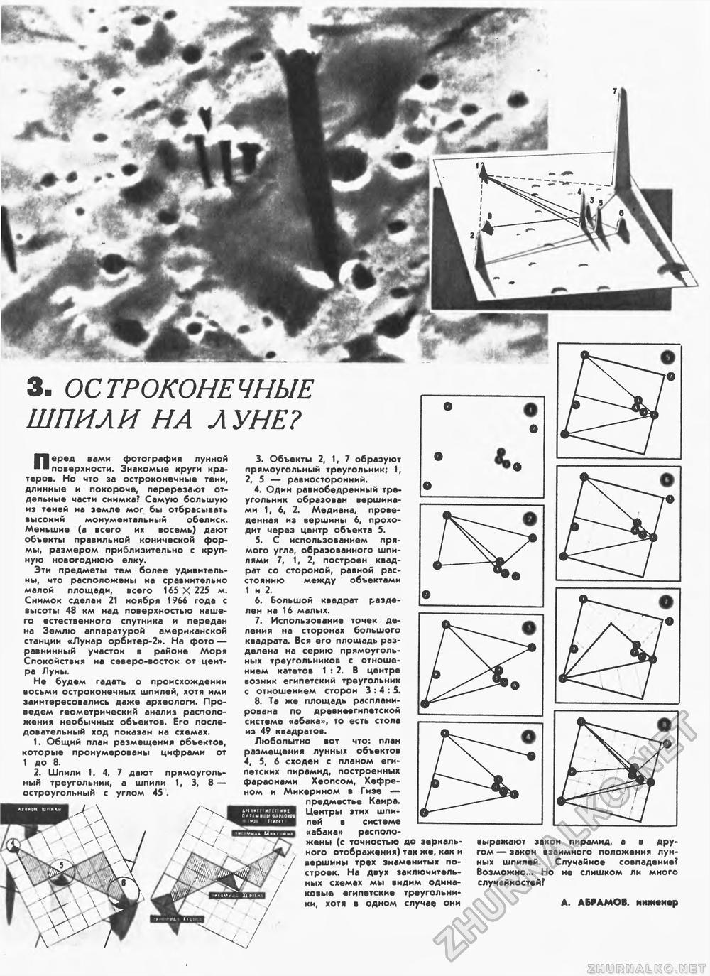 «Остроконечные шпили на Луне?» — СССР, журнал «Техника — молодёжи», 1969 год