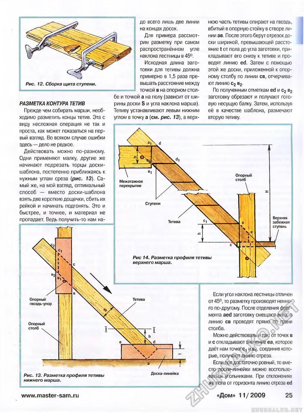 Разметка тетивы для лестницы своими руками 18